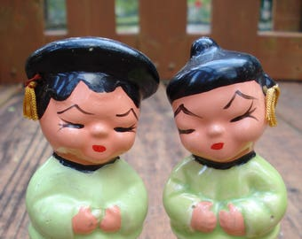 Asian Boy and Girl Salt and Pepper Shakers Victoria Ceramics