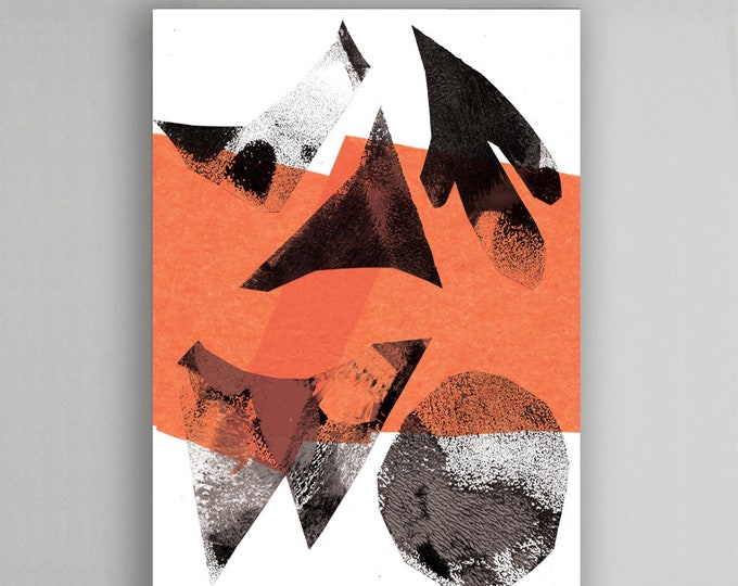 Abstract Collage Orange Art Print, modern art print, modern wall decor, abstract wall decor, abstract poster, abstract mordern art