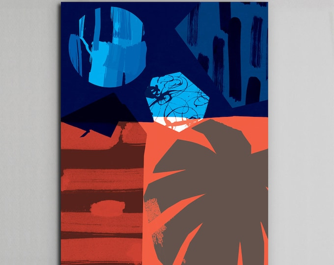 Tropical Night A4, 30x40, A3 wall art Print. Abstract  Poster Illustration. wall decor. Modern print .Simple. Collage