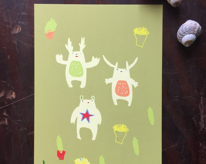Aliens postcard. Mini poster. Cards . Kids. Monsters . Creatures .Modern stationery