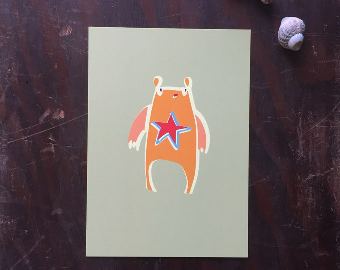 Orange alien postcard. Mini poster. Cards . Kids. Monsters . Boys. Creatures .Modern stationery
