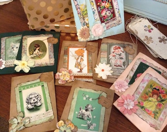 Set of Ten Greeting Cards and Ten Gift Tags