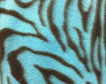 Zebra Animal Print Fleece Fabric Teal Blue by the yard