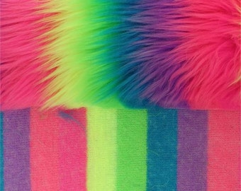 Shaggy Faux Fur Neon Rainbow Fabric by the yard