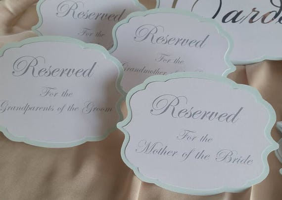 reserved signs table reserved signs reserved table signs etsy