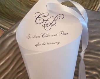 Hanging Cones, 25  White or Ivory Initial wedding petal cone with satin ribbon