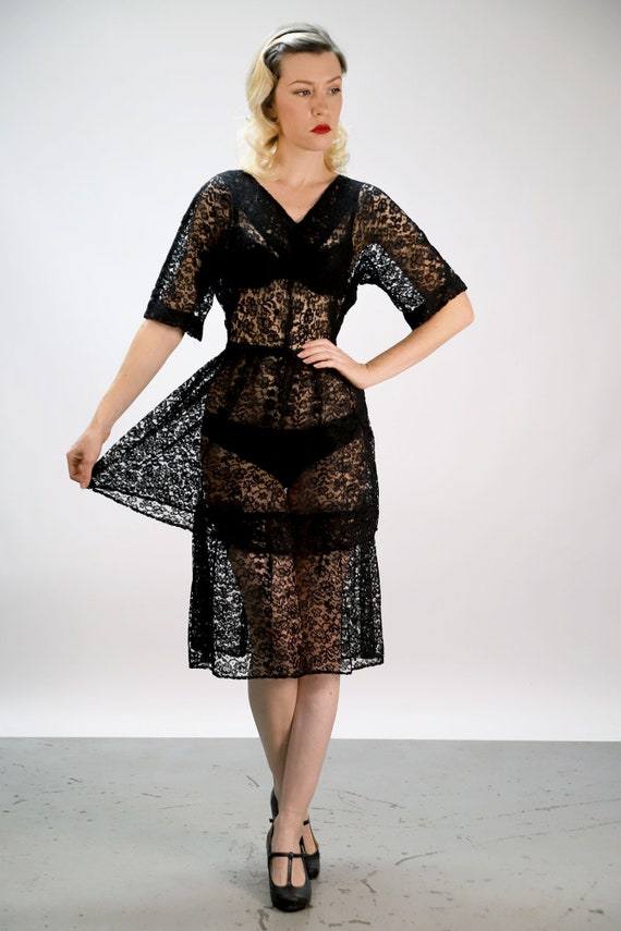 Vintage 1940s Sheer Black Lace Dress with Layered