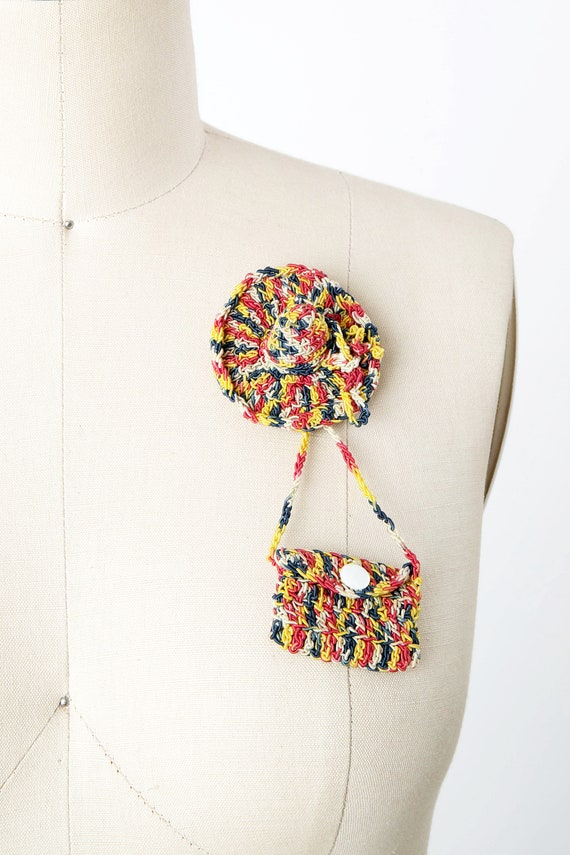 Vintage 1940s Rainbow Crochet Hat and Functional P