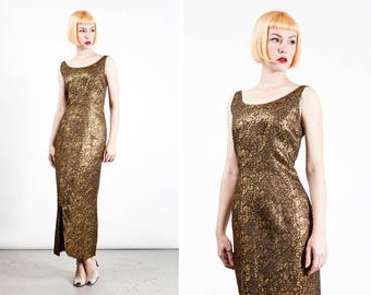 Vintage 1960s Bombshell Gold Lurex Brocade Full Length Wiggle Dress