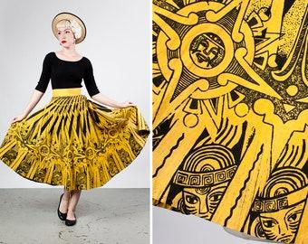 Vintage 1950s Vibrant Yellow Cotton Block Print Novelty Mexican Circle Skirt