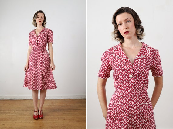 Vintage 1930s / 1940s Adorable Red and White Cotto