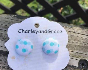 Teal polka dot button earrings