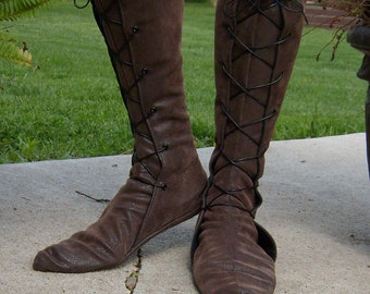 d3556c657e2 Tall Soft Leather Renaissance Boots--- New Optional Thick Sole-- Lace Up