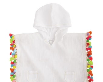 e45915c07 Monogrammed Hooded Tassle Cover Up / Personalized Poncho / Spring / Summer  / Pool / Beach / Swimwear / Clothing / Girls / Kids