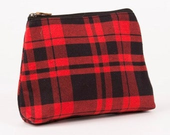 baf8027f48be Monogrammed Black   Red Plaid Boulder Twill Cosmetic Bag Personalized Plaid  Cosmetic Case Monogrammed fashion Makeup Bag  Accessory Bag