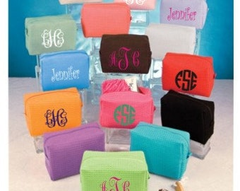 Monogrammed Small Waffle Weave Cosmetic Bag / Small Personalized Makeup Bag / Graduation Gift / Wedding Gift / Bridesmaid Gift / Monogrammed