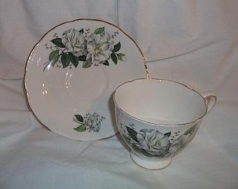 Royal Kent Bone China White Flowers Cup & Saucer Staffordshire England Vintage