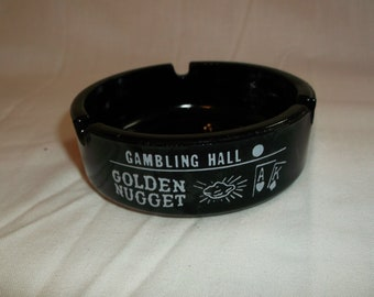 GOLDEN NUGGET Las Vegas Nevada Gambling Hall Saloon Casino Round Ashtray Nv