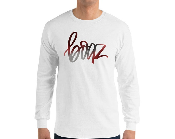 Adult Boaz Watercolor Long sleeve White Tee