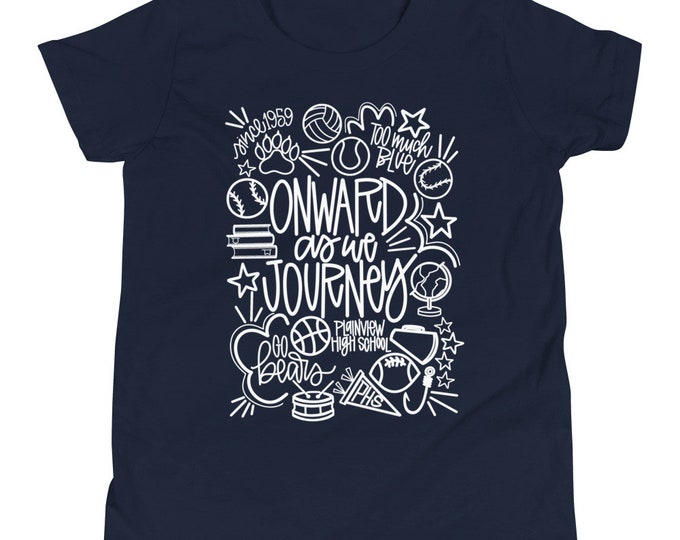 Youth Plainview White Onward We Journey Navy Tee