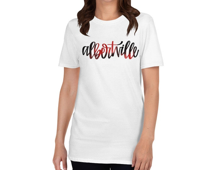 Adult Albertville Watercolor on White Tee