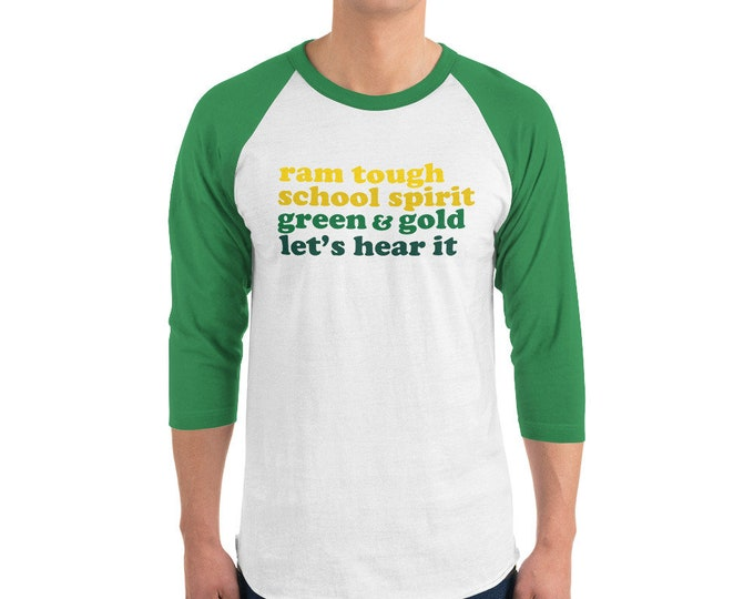 Adult Sylvania School Spirit Ombre on Green/White Raglan