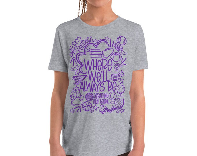 Youth Geraldine Where We'll Always Be Purple on Grey Tee