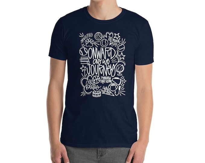 Adult Plainview White Onward We Journey Navy Tee