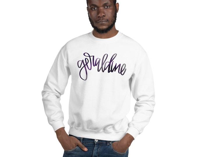 Adult Geraldine Watercolor on White Sweatshirt