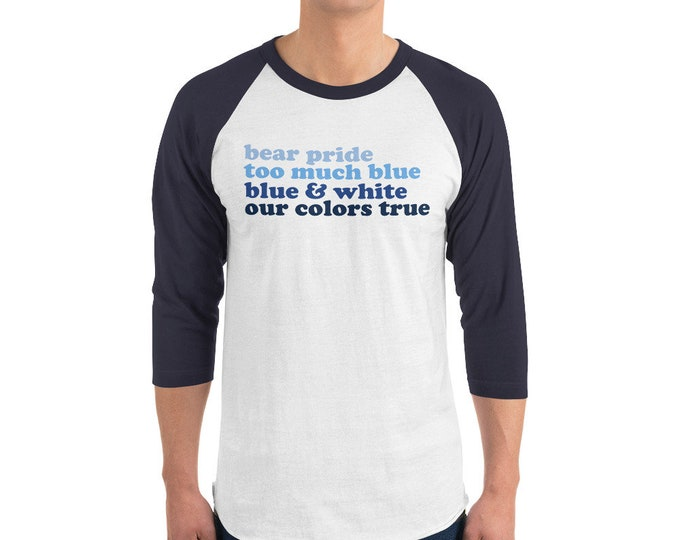 Adult Plainview School Spirit Ombre on Navy/White Raglan