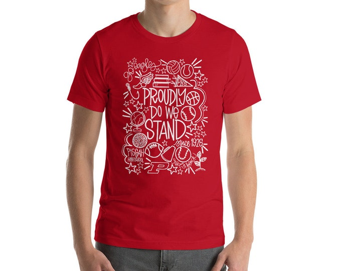 Adult Pisgah Proud Do We Stand on Red Tee