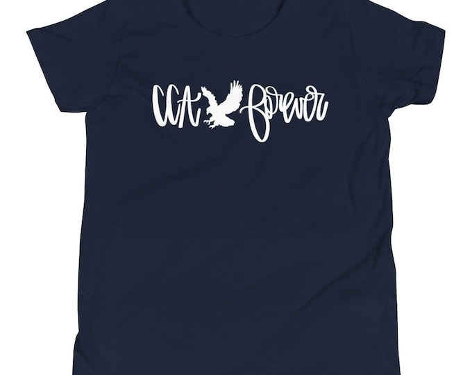 Youth Cornerstone Forever White on Navy Tee