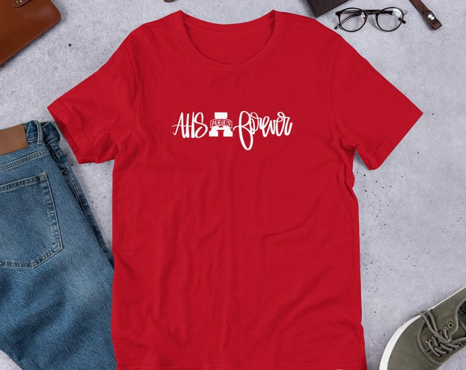 Adult Albertville Forever White Ink on Red or Black Tee