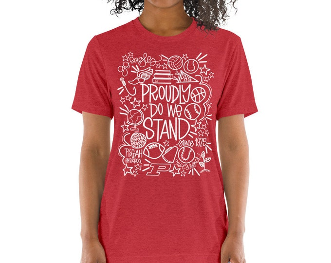 Adult Pisgah Proudly Do We Stand White on Red Tee