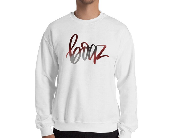Adult Boaz Watercolor White Sweatshirt