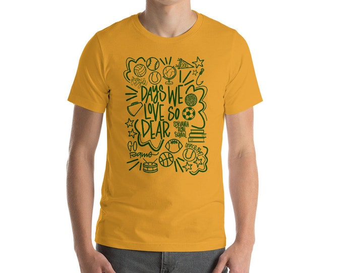 Adult Sylvania Days We Love Gold Shirt Green Ink