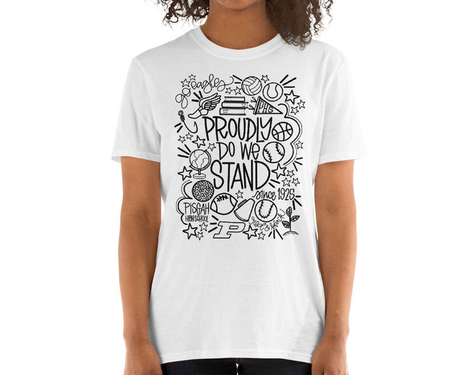 Adult Pisgah Proudly We Stand Black on Grey or White Tee