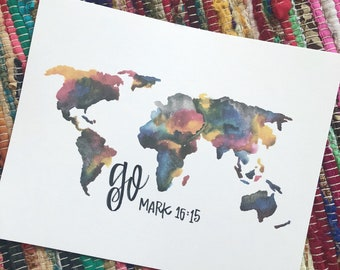 8x10 Watercolor World (bold colors)