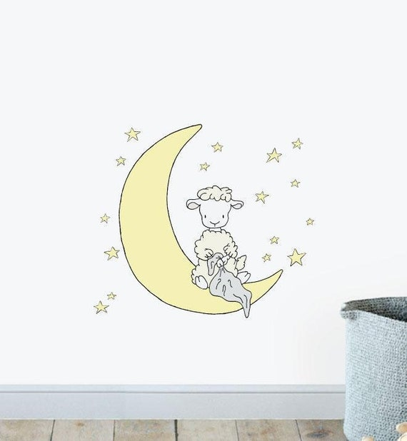 Illustration Wall Stickers Wall Art Wall Decals Home Decor Illustrations Full Moon Wall Sticker Decal Animals Wall Stickers