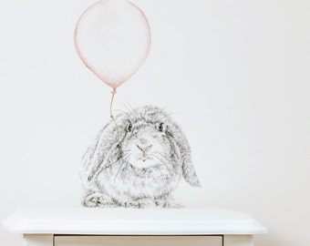 Bunny with Balloon Removable Wall Decal