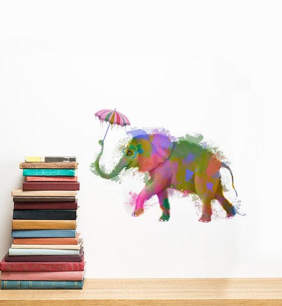 Rainbow Elephant With Umbrella Wall Sticker Decal Kids Wall Etsy