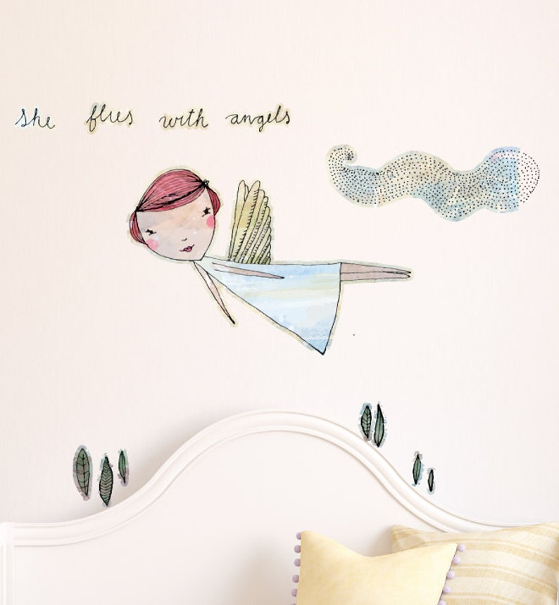 Home Decor Baby Room Animal Wall Decals Girl She Flies With Angels Wall Sticker Decal Wall Art Boy Nursery Wall Stickers