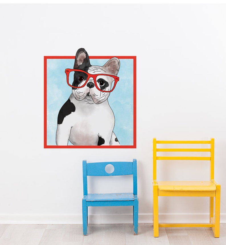 French Bulldog With Glasses Wall Sticker Decal   Dogs and Pets Wall  Stickers, Wall Art, Wall Decals, Kids Stickers, Animals Wall Decals