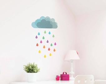 Cloud Rain Removable Wall Sticker