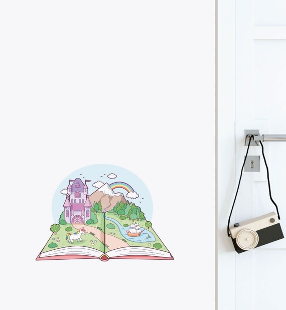 Library Vinyl Wall Decal Reading Story Open Book Girl Kids Room Wall Stickers For Study Decoration Wallpaper Waterproof Z440 Wall Stickers Aliexpress