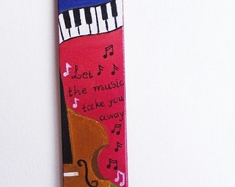 Bookmark Handmade Hand Painted Acrylics On Wood Special Gift For Music Lovers Art Gift For Book Lovers.
