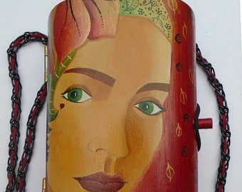 Purse Shoulder Bag Handmade Hand Painted Acrylics On Wood Unique Gift For Her Art Fashion Accessory For All Seasons