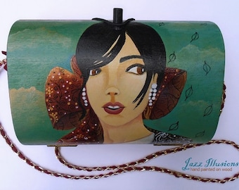 Purse Shoulder Bag Handmade Hand Painted Acrylics On Wood Unique Art Gift For Her Fashion Accessory For All Hours Of The Day
