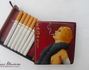 Cigarette Case Personalized Cigarette Case Unique Smoking Accessory Handmade Hand Painted Acrylics On Wood Gift For Her Gift For Him.