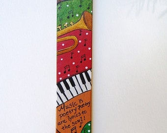 "Bookmark Handmade Hand Painted Acrylics On Wood Book Lovers Gift Unique Gift For Jazz Music Lovers ""Music is poetry"" ."
